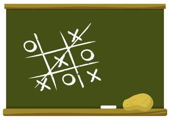 tic tac toe game on chalkboard