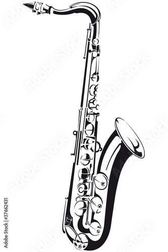 Line drawing of a saxophone, isolated on background - 37662431