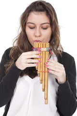 woman playing a indian flute