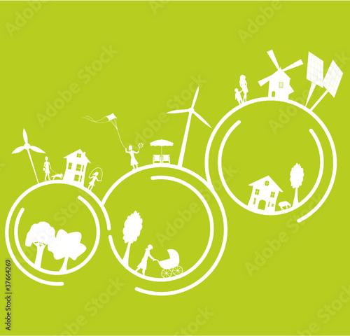 mère et enfant dans un monde écologique