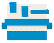 Blue paper tags - Vector ribbons