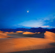 Moon And Dunes, Death Valley NP, California