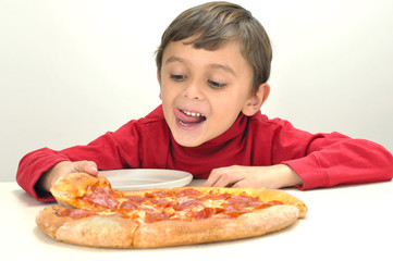 Boy and pizza