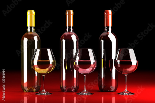 Bottles of red , rosé and white wine
