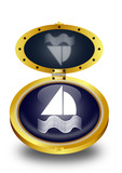 Sailing boat button (vector)