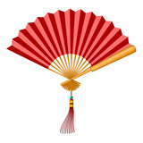 Chinese Fan with Tassel and Jade Bead