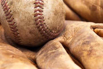 Vintage baseball and glove