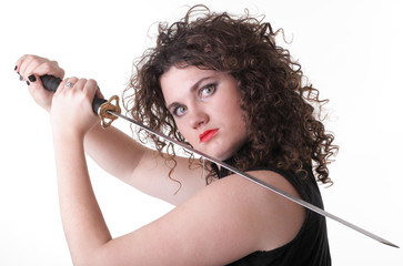 Portrait curly woman curly girl and sword