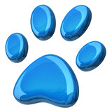 3d illustration of blue paw