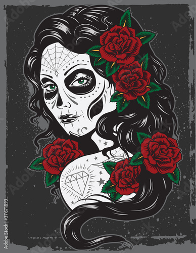 Day of dead girl tattoo illustration