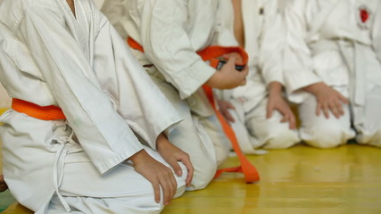 children in karate training at the gym