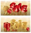Christmas sale banners, vector illustration