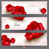 Fototapety Set of three banners with red gifts. Valentine's Day. Vector ill