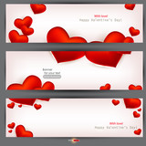 Fototapety Set of three banners with red hearts. Valentine's Day. Vector ba