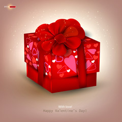 Beautiful red gift and place for text. Valentine's Day. Vector b