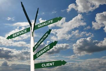 Panneaux service satisfaction client