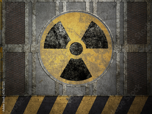 Texture of metal plate, nuclear danger