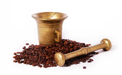 Roasted coffee and ancient brazen pounder