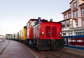 Kleinbahn am Bahnhof Borkum