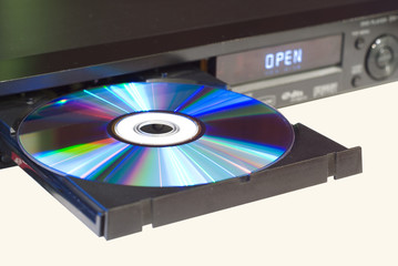 DVD player with an open tray