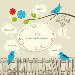Blue birds talking communication concept