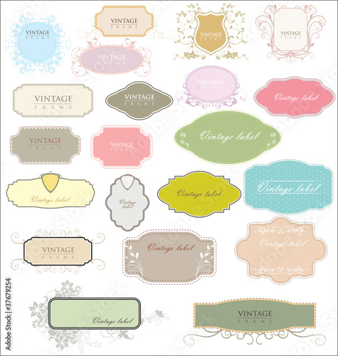 vintage colorful empty labels