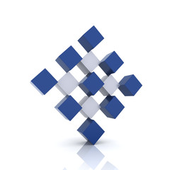 Blue rhomb form cubes