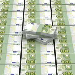 Viele Ausgelegte 100 Euro Geldbündel - Geldmenge