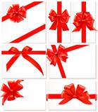 Set of red bows and ribbons. Vectors.