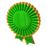 Green award rosette ribbon 3d