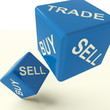 Buy Trade And Sell Blue Dice Representing Business And Commerce