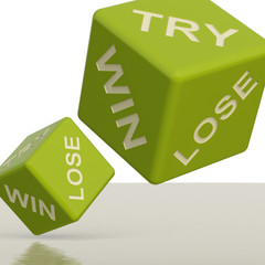 Try Win Lose Green Dice Showing Gambling And Chance
