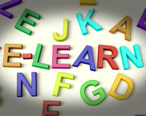 Elearn Written In Multicolored Plastic Kids Letters