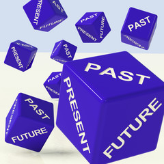 Past Present Future Blue Dice Showing Evolution And Destiny
