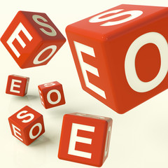 Seo Red Dice Representing Internet Optimization And Development