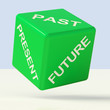 Past Present Future Green Dice Showing Evolution And Aging