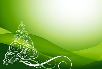 Sfondo natalizio verde con sfumature e abete