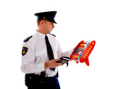 Dutch police officer is counting vouchers quotas with abacus