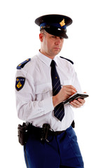 Dutch police officer filling out parking ticket