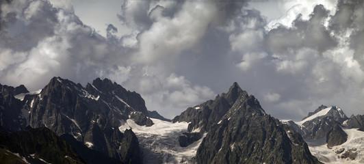 Panorama cloudy mountains