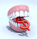 denture and dollar symbol