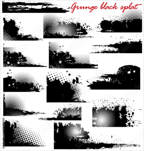 grunge black splat - set