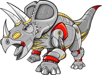 Robot Cyobrg Triceratops Dinosaur Vector Illustration