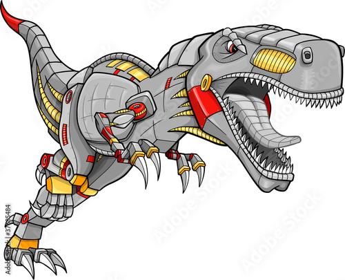 Robot Cyborg Tyrannosaurus Dinosaur Vector Illustration - 37685484