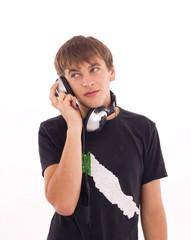 handsome man listening to music on headphone