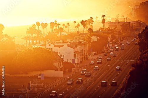 Sunset at Santa Monica, California