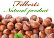 Nuts filberts isolated
