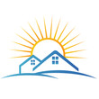 Houses and sun silhouette logo