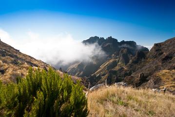 Wolke hängt im Berg