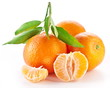 Tangerines with leaves on white background.